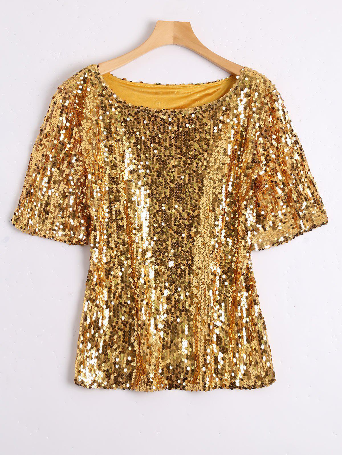 Plus Size Glitter Sequined T-shirtWOMEN<br><br>Size: 5XL; Color: GOLDEN; Material: Cotton Blends,Polyester; Shirt Length: Regular; Sleeve Length: Short; Collar: Scoop Neck; Style: Streetwear; Season: Spring,Summer; Embellishment: Sequins; Pattern Type: Solid; Weight: 0.3900kg; Package Contents: 1 x Tee;