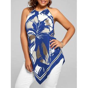 Asymmetric Halter Printed Plus Size Top