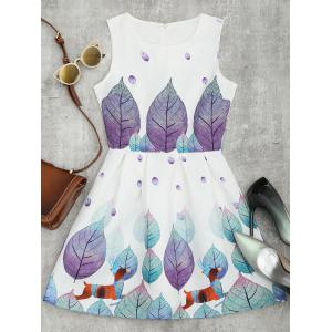 Leaf Print Mini Jacquard A Line Dress