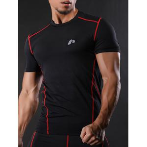 Suture à manches courtes Quick Dry Stretchy Gym T-shirt - Rouge M