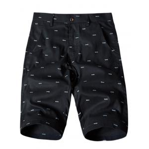 Allover Fish Bone Print Casual Shorts