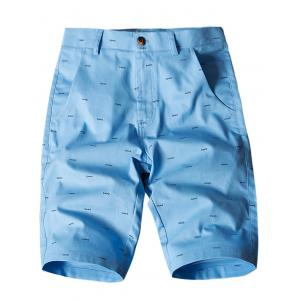 Allover Fish Bone Print Casual Shorts - Azure - 34