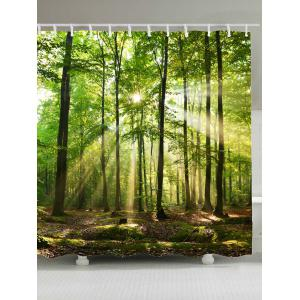 Sunlight Forest Tree Waterproof Fabric Shower Curtain - Green - W71 Inch * L79 Inch