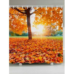 Sunlight Maple Tree Leaf Waterproof Fabric Shower Curtain