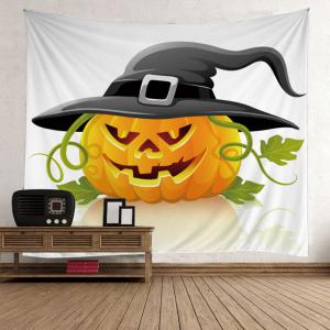 Halloween Pumpkin in Hat Wall Hanging Tapestry