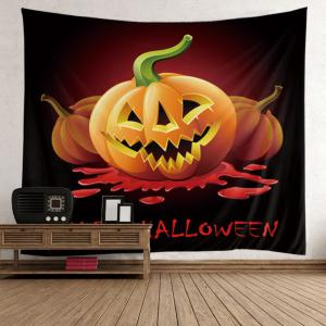 Halloween Pumpkin Bloody Letter Wall Hanging Tapestry - Wine Red - W79 Inch * L59 Inch