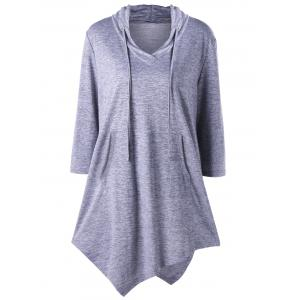 Plus Size Kangaroo Pocket Asymmetrical Drawstring Top - Gray - 3xl