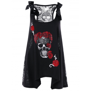 Skull Floral Handkerchief Lace Panel Plus Size Top - Black - 5xl