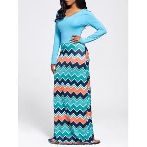 Chevron Print Long Sleeve Maxi Dress - Light Blue - Xl