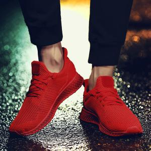 Lace Up Mesh Breathable Athletic Shoes - RED 43