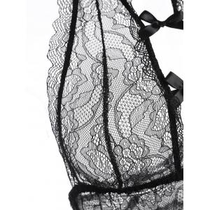 Halter Lace Sheer Backless Babydoll Robe - Noir TAILLE MOYENNE
