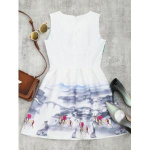 Printed Fit and Flare Mini Dress - WHITE L