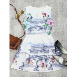 Printed Fit and Flare Mini Dress - White - Xl