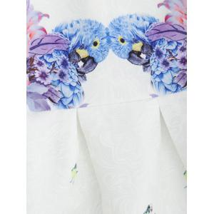 Bird Floral Fit and Flare Mini Dress - WHITE M