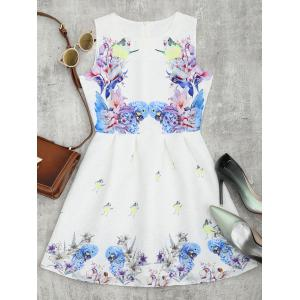 Bird Floral Fit and Flare Mini Dress - White - Xl