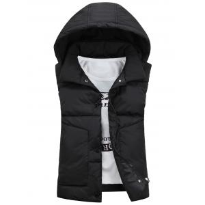 Snap Button Detachable Hooded Padded Waistcoat - Black - 3xl
