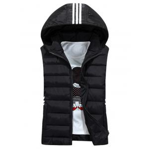 Stripe Design Detachable Hooded Padded Waistcoat - Black - M