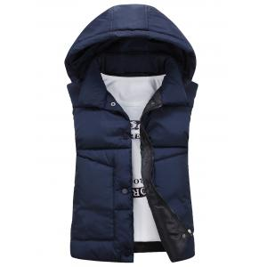 Snap Button Detachable Hooded Padded Waistcoat - Cadetblue - M