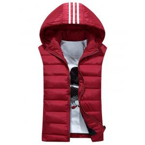 Stripe Design Detachable Hooded Padded Waistcoat - Red - M