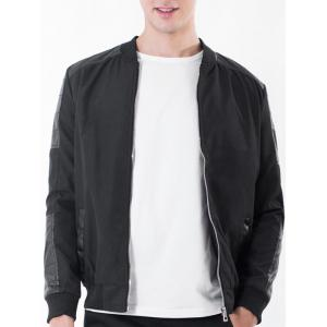 Rib Stand Collar Zip Up PU Leather Panel Jacket - Black - L