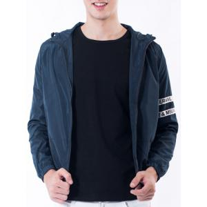 Drawstring Hooded Graphic Selvedge Embellished Jacket