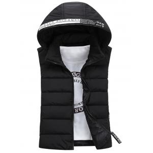 Graphic Embellished Detachable Hooded Padded Waistcoat - Black - S