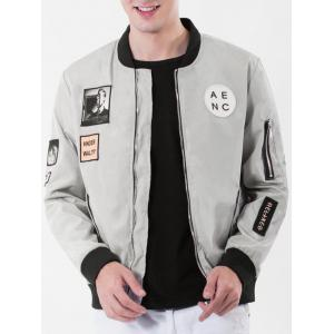 Rib Stand Collar Graphic Appliques Pocket Zip Up Jacket
