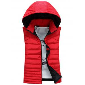 Zip Up Detachable Hooded Padded Waistcoat - Red - M