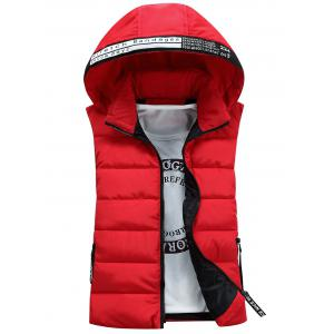 Graphic Embellished Detachable Hooded Padded Waistcoat - Red - 3xl