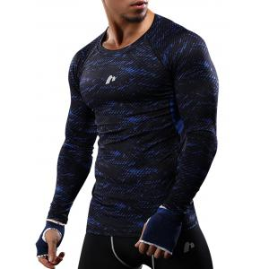 Camouflage Quick Dry Openwork Panel Gym T-shirt - Blue - M