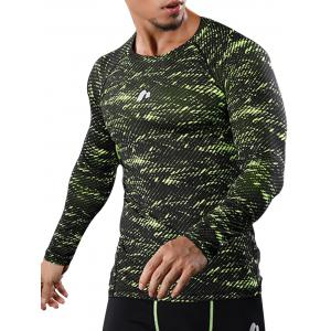 Camouflage Quick Dry Openwork Panel Gym T-shirt
