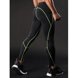 Elastic Waist Quick Dry Suture Stretchy Gym Pants - GREEN M