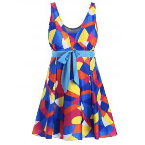 Color Block Padded Underwire Plus Size Swimdress