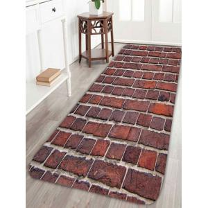 Coral Fleece Brick Wall Antislip Bathroom Rug - Dark Auburn - W24 Inch * L71 Inch