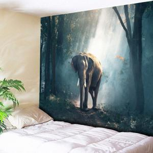 Forest Elephant Tapestry Animal Wall Hanging - Blue Gray - W59 Inch * L59 Inch
