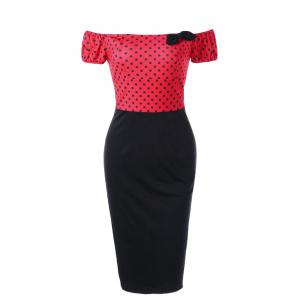 Polka Dot Off Shoulder Tight Fitted Sheath Dress - Red - M