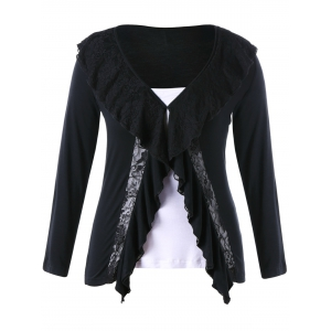Plus Size Lace Panel Two Tone Top