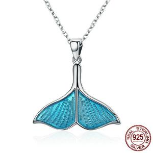 Sterling Silver Mermaid Tail Pendant Necklace - Silver