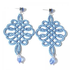 Rhinestone Teardrop Chinese Knot Earrings - Light Blue