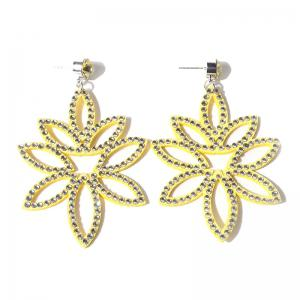 Acrylic Rhinestone Leaf Flower Earrings - Yellow