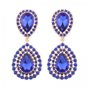Vintage Faux Gemstone Teardrop Dangle Earrings - Blue