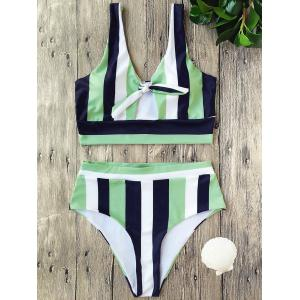 High Waist Striped Cropped Bikini Set