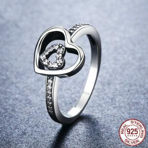 Sterling Silver Rhinestone Double Heart Ring - Silver - 6
