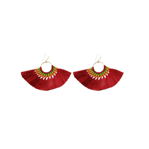 Ethnic Circle Tassel Braid Hook Earrings - Wine Red - 3xl
