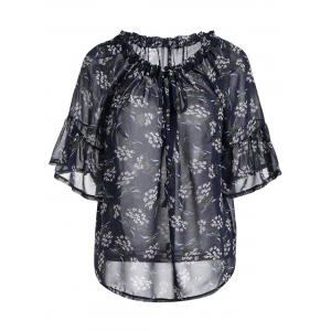 Plus Size Drawstring Floral Off Shoulder Tops