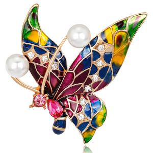 Multicolor Enamel Butterfly Vintage Faux Pearl Brooch - Colorful