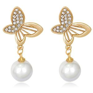 Faux Pearl Butterfly Design Rhinestone Drop Earrings - Golden