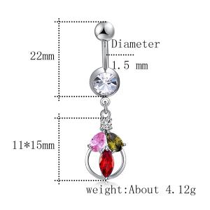 Artificial Multicolor Crystal Belly Button Jewelry -