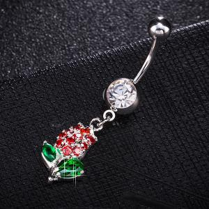 Rhinestone Tulip Shape Belly Button Jewelry