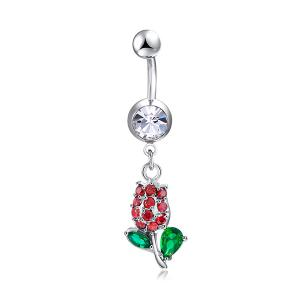 Rhinestone Tulip Shape Belly Button Jewelry - RED AND GREEN